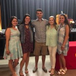 Molly Hines joined by Vicki's siblings and 2017 scholarship recipient Kaitlyn Keegan and 2016 recipient Olivia Mastroluca.